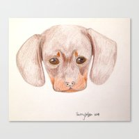 daschund Canvas Prints featuring Puppy by courtthewolf