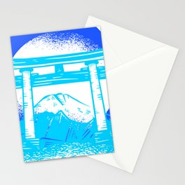 Happy Fuji - Bright Blue Color Stationery Cards