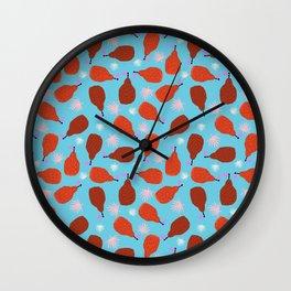 Legit - pears pattern print retro pattern throwback nature minimal modern abstract bright neon 80s Wall Clock