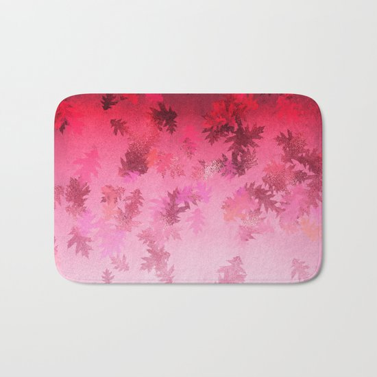 Autumn-world 4 -  leaves on pink Bath Mat