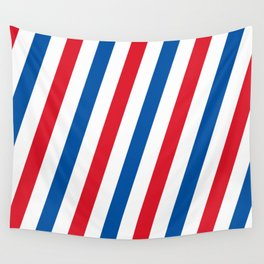 Blue, white and red stripes pattern Wall Tapestry