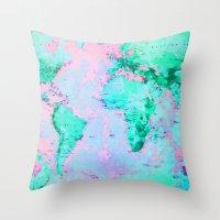 wanderlust Throw Pillows featuring Wanderlust by ALLY COXON