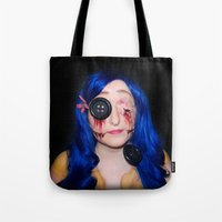 coraline Tote Bags featuring Gory Coraline by Janelle Jex