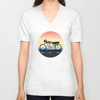 moto V-neck T-shirts featuring Moto Cruise by Fred Jonathan