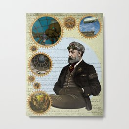 Jules Verne, a Steampunk vision Metal Print