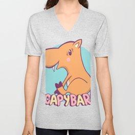 Cute Kawaii Happy Capybara Unisex V-Neck