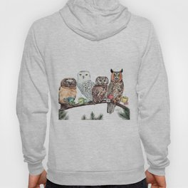 Tea owls , funny owl tea time painting by Holly Simental Hoody