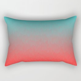 Cyan to red ombre flames Miami Sunset Rectangular Pillow