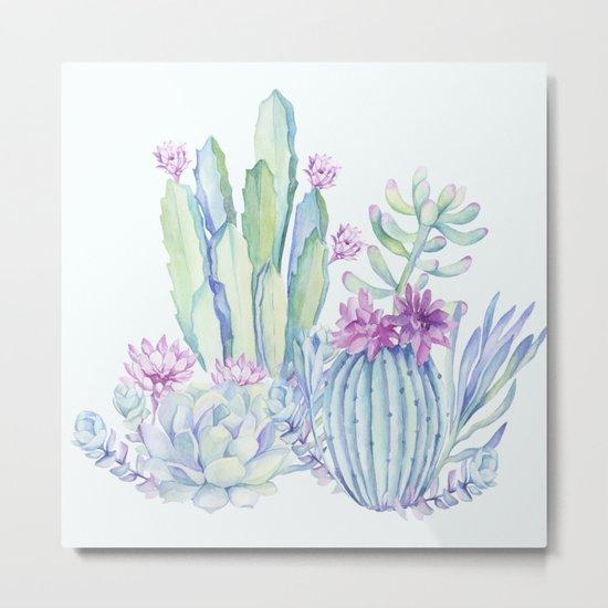 Mixed Cacti Light Blue #society6 #buyart Metal Print