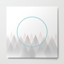 Minimal Abstract Graphic Mountains Circle Blue Pink Gray Metal Print