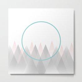 Minimal Abstract Graphic Mountains Circle Blue Pink Gray Metal Print