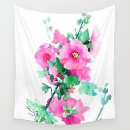 Hollyhock, Green pink design floral, Pink Flowers vintage floral design Wall Tapestry