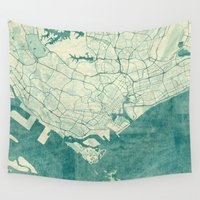singapore Wall Tapestries featuring Singapore Map Blue Vintage by City Art Posters