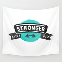 fitness Wall Tapestries featuring Stronger Every Day (dumbbell) by Lionheart Art