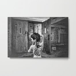 Tattooed naked girl Metal Print