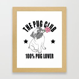 Hand Drawn Cute Pug - Funny Graphic Design Framed Art Print