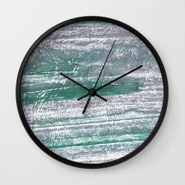 Slate gray green nebulous watercolor paper Wall Clock