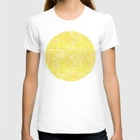 yellow pattern T-shirts featuring Yellow Chevron Pattern by Aloke Design