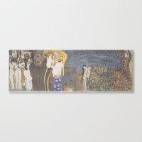 gustav klimt Canvas Prints featuring Gustav Klimt - Beethoven Frieze by TilenHrovatic