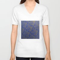 baroque V-neck T-shirts featuring Baroque Rose by Azure Cricket