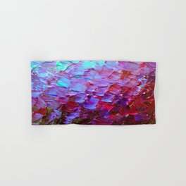 MERMAID SCALES - Colorful Ombre Abstract Acrylic Impasto Painting Violet Purple Plum Ocean Waves Art Hand & Bath Towel
