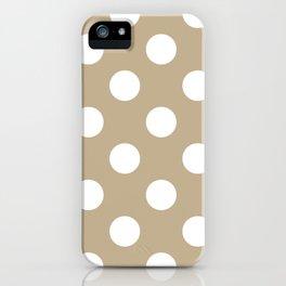 Large Polka Dots - White on Khaki Brown iPhone Case