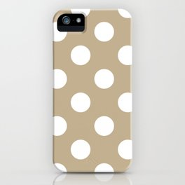 Large Polka Dots - White on Khaki Brown iPhone Case