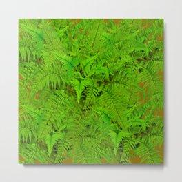ABSTRACTED  GREEN  TROPICAL FERNS GARDEN ART Metal Print
