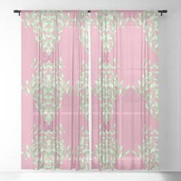 Pink Butterfly Vine Baroque Sheer Curtain