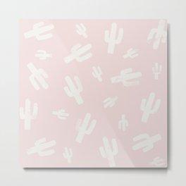 Pink and  White Lino Print Cactus Pattern Metal Print