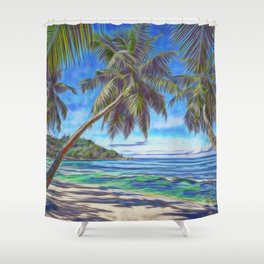 Tropical island beach Shower Curtain