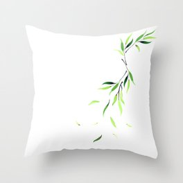 Falling Leaves - Emerald Throw Pillow