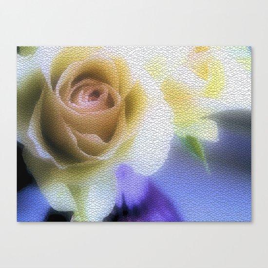 Old Love Gentle Rose - Pastel Vintage Mosiac Canvas Print