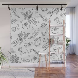 Eat Your Veggies - in black and white Wall Mural