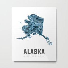Alaska - State Map Art - Abstract Map - Blue Metal Print