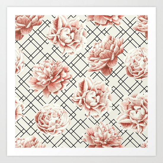 Simply Mod Diamond Roses in Cream and Black Art Print
