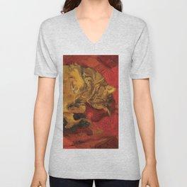Tabby Cat Sleeping Animal Oil Painting in Vibrant Red Brown Yellow Impressionist Bright Colour Unisex V-Neck