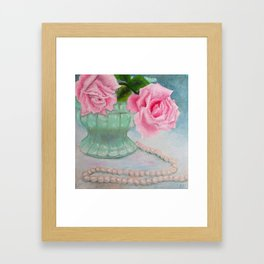 Jadeite, Pink Roses and a String of Pearls Framed Art Print