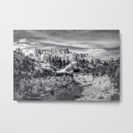 Castle in the sky in black and white - Water Canyon Metal Print