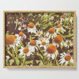 White Flowers Serving Tray