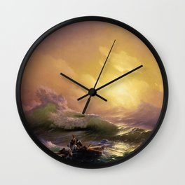 The Ninth Wave nautical sunset ocean storm landscape masterpiece by Ivan Aivazovsky Wall Clock