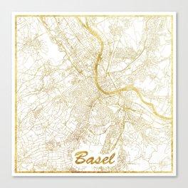 Basel Map Gold Canvas Print