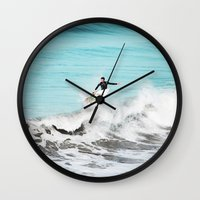 surfer Wall Clocks featuring Surfer by Sherman Photography