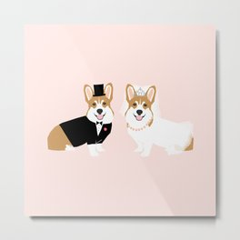 Corgi Bride and Groom - cute dog wedding, corgi wedding, dog, dogs, summer cute Metal Print