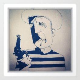 Picasso. Gun. Cigarette. Hat Art Print