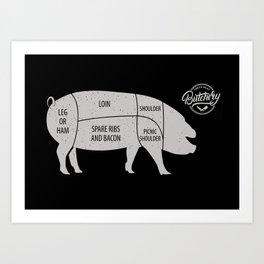 Pig Butcher Chart Art Print
