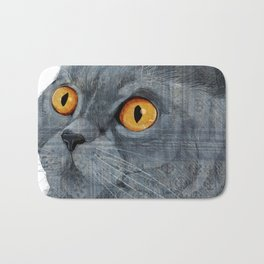 Blue British Shorthair cat Bath Mat
