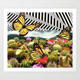 Butterflies & Cacti Art Print