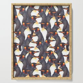 King Penguins Watercolour repeat Pattern Serving Tray