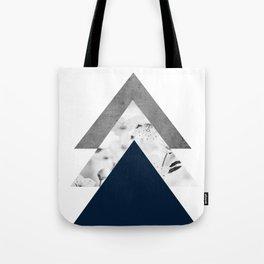 Blue grey monochrome blossom arrows Tote Bag